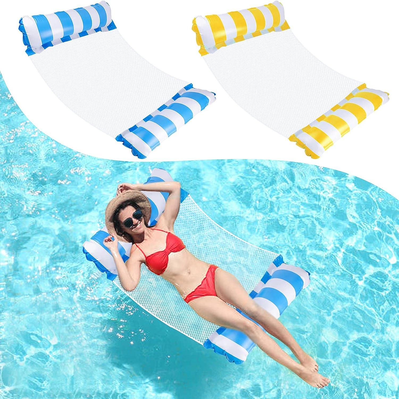 Ltteaoy 2x Hamaca Flotante, Agua Silla Inflable de Flotación Tumbona Hamaca Inflable Flotador de 4 en 1 Piscina Agua Colchonetas Hinchables Asiento juguete para adultos y niños ( Azul y Amarillo )