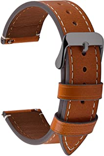 4 Colors for Smart Watch Strap, Fullmosa Top Leather Watch Band Replacement 24mm,Light Brown + smoky grey buckle