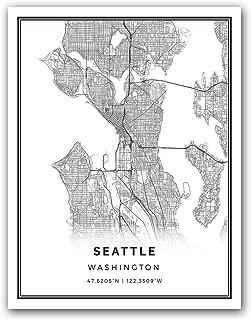 Squareious Seattle map Poster Print | Modern Black and White Wall Art | Scandinavian Home Decor | Washington City Prints Artwork | Fine Art Posters 8.5x11
