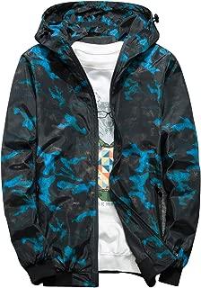Rexcyril Men's Windbreaker Jacket, Floral Bomber Jacket Lightweight Zip-up Hooded Coat