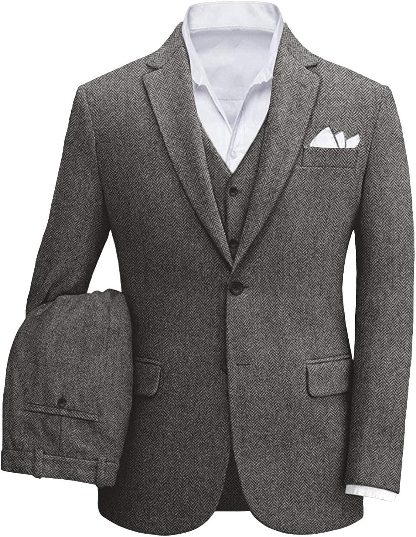 Wemaliyzd Vintage Men 3 Piece Tweed Suit Vest Pants Slim Fit Herringbone Outfit Set