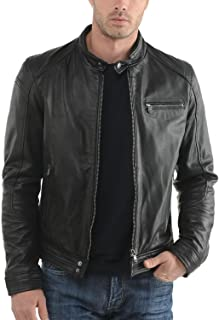 Men's Genuine Cowhide Leather Jacket (Black, Biker Jacket) - 1501283