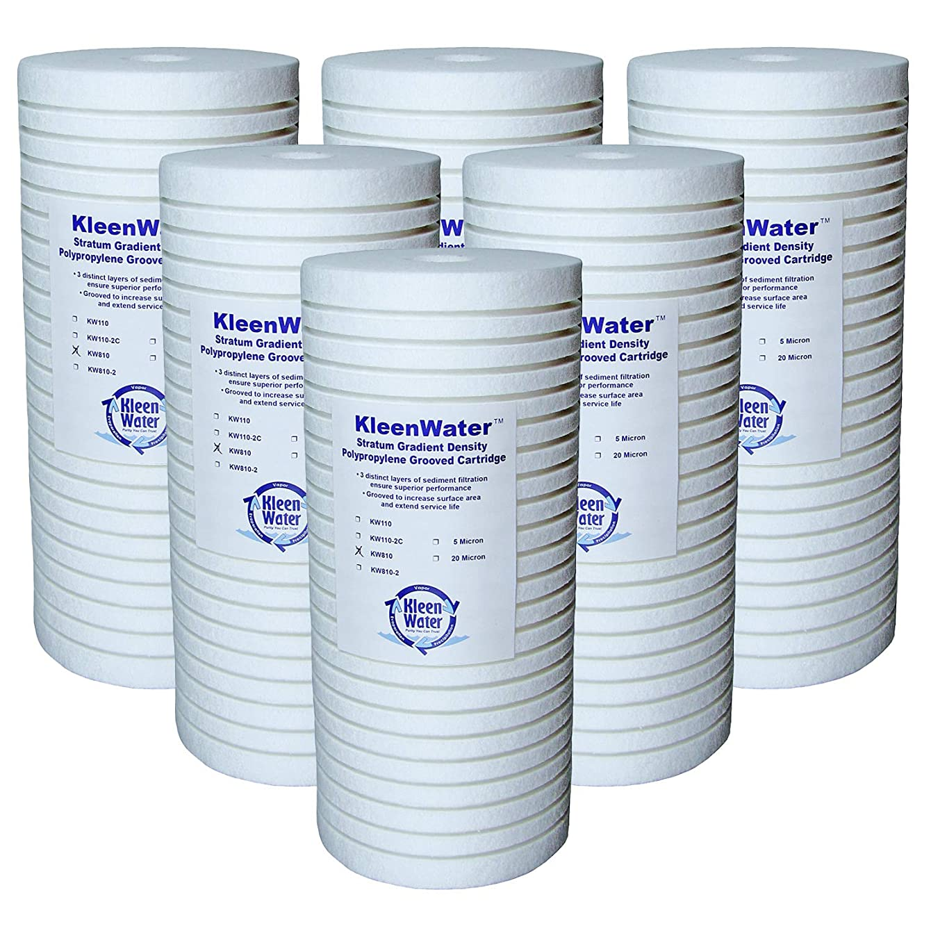 KleenWater KW810 Replacement Water Filter Cartridges, Compatible with Aqua-Pure AP810, 5 Micron Dirt Rust Sediment Whole House Filters, Set of 6 tlocsepifnabr85