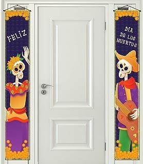 Pudodo Cartel para puerta delantera del Día de los Muertos Feliz Dia De Los Muertos Mexicanos para colgar en la pared, dec...