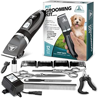PetTech Professional Dog Grooming Kit - Rechargeable, Cordless Pet Grooming Clippers & Complete Set of Dog Grooming Tools....