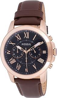 ساعة يد جرانت بحركة كرونوجراف من فوسيل بمينا زرقاء وسوار بني من الجلد بني، للرجال - FS5068