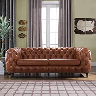 Casa Andrea Modern Tufted Button Leather Upholstered Chesterfield Sofa Couch for Living Room (Rust)