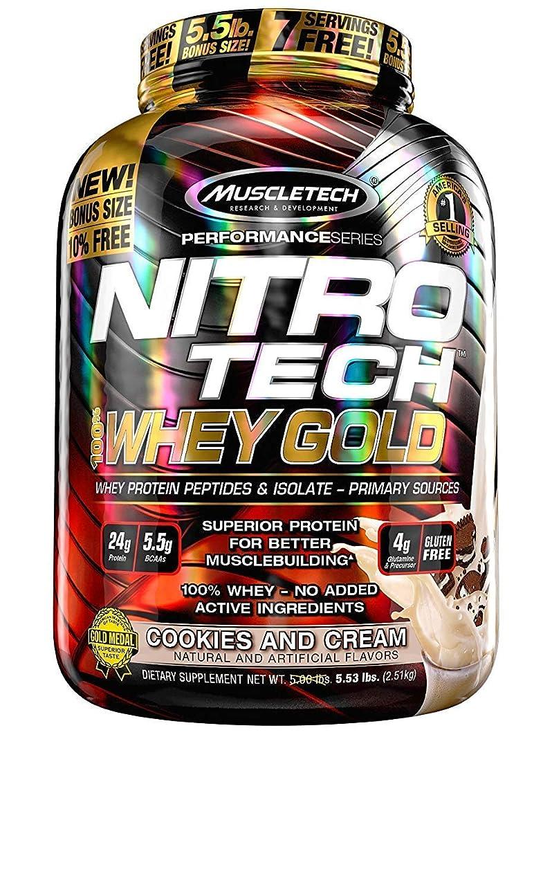 思慮深い映画肉ニトロテック100%ホエイゴールド(クッキー&クリーム 2.51kg) (Nitrotech 100% Whey Gold 5.53Lbs) [並行輸入品]