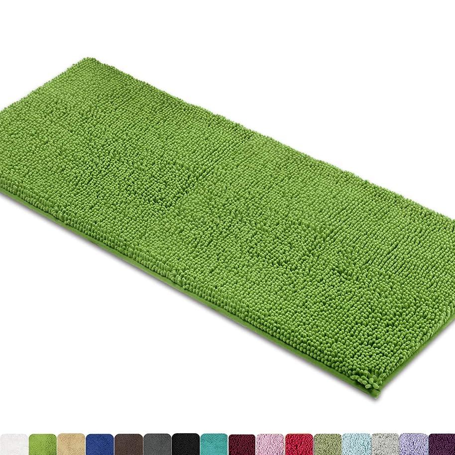 MAYSHINE Non-Slip Bathroom Rugs Shag Shower Mat Machine-Washable Bath mats Runner with Water Absorbent Soft Microfibers - 27.5x47 inch Green