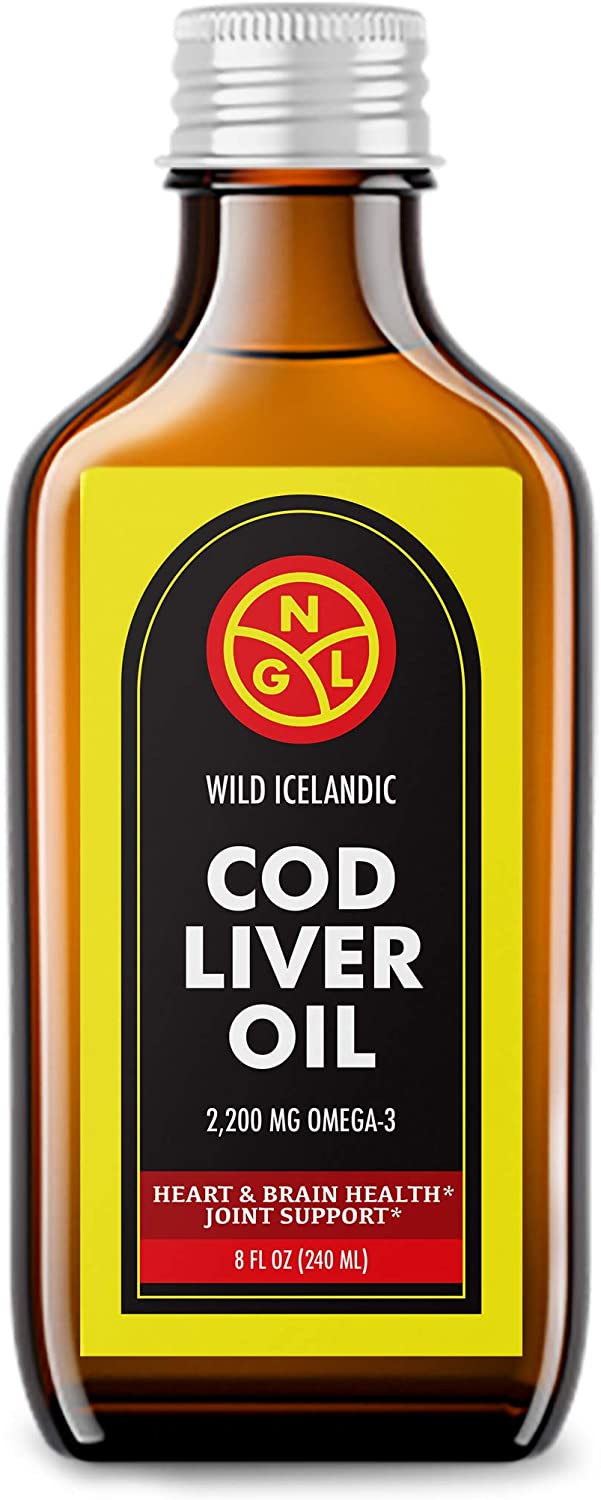 NGL Wild Icelandic Cod Liver Oil 100% Pure - 2,200 mg Omega-3 + Vitamin A & D - Heart & Brain Health + Joint Support 8 Fl Oz
