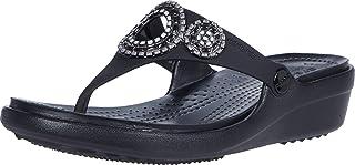 Crocs Women's Sanrah Diamante Wedge Flip Flop