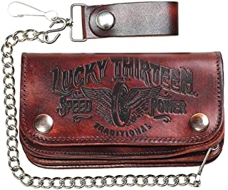 "Men's Lucky 13 Traditional Speed Embossed 6"" Chain Wallet Brown"
