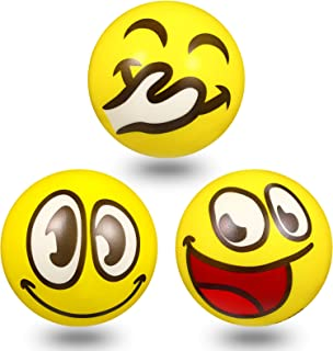 3 Pieces 4 Inch Smile Face Stress Balls, Yellow Fun Happy Face Squeeze Balls Novelty Big Toy Balls for Anxiety Relief, Han...