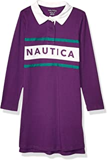 Nautica girls Girls' Long Sleeve Polo Dress Casual Dress