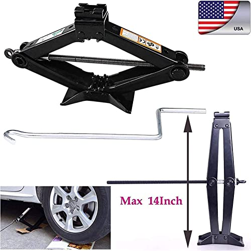 lowest Bowoshen Heavy Duty Leveling Scissor Jack 2 Ton Tonne with Chromed Crank discount Speed Handle for 2021 RV Car Lifting online