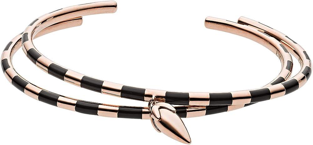 Emporio armani bangle, bracciale per donna, in acciaio inossidabile trattamento ip oro rosa EGS2647221