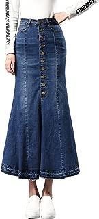Women's Casual Stretch High Waisted Front Button Long Denim Mermaid Skirt