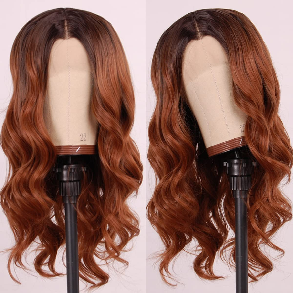 QDTOYOBO Short Brown Wavy Lace Synthetic Max 83% OFF Copper Wigs Front New product