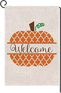BLKWHT 175209 Welcome Fall Pumpkin Small Garden Flag Vertical Double Sided 12.5 x 18 Inches Farmhouse Autumn Burlap Yard Outdoor Decor