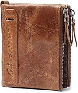 TALITARE Mens Wallet RFID Blocking Men's Genuine Leather Wallet and Zipper Coin Pocket Bifold Purse with Chain 7 Credit Ca...