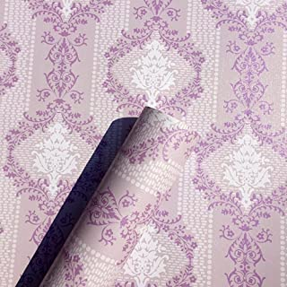 Yifely Retro Purple Damask Self Adhesive Shelf Drawer Liner Valentine's Day Gift New Year Contact Paper 45x300cm