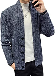 Loyomobak Mens Slim Fit Winter Button Down Cable Knit Long Sleeve Cardigan Sweater Coat