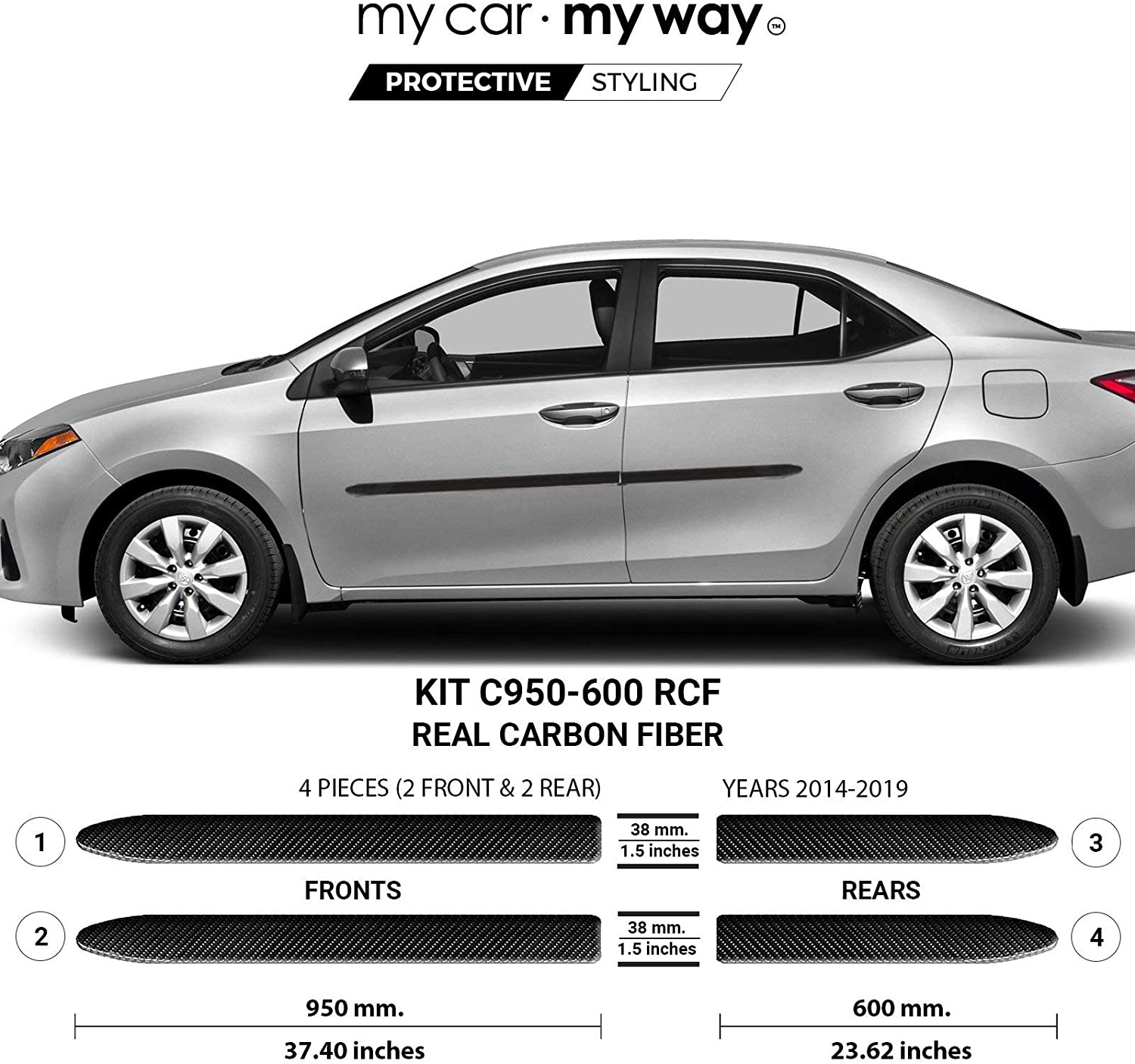 MY CAR WAY Fits Toyota 2014-2019 Special Campaign Real Corolla Sedan Carbon Time sale