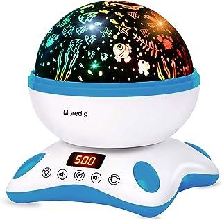 Moredig Música Lampara Proyector Estrellas Bebé, 360° Rotación con Control Remoto, Romántica 8 Color Luz Nocturna Infantil, Regalo para Niños Cumpleaños, Día de los Reyes, Navidad(Azul y Blanco)