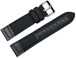 22mm Replacement Watch Band - Nylon Canvas with Leather Trim - Black Watch Strap