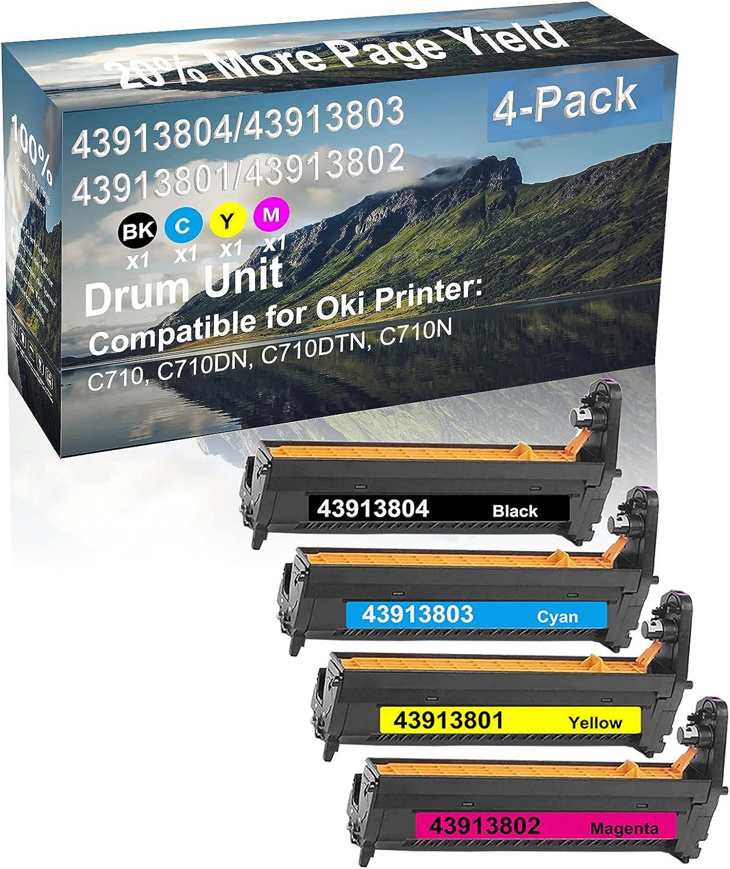 4-Pack (BK+C+Y+M) Compatible C710, C710DN, C710DTN, C710N Printer Drum Kit High Capacity Replacement for Oki 43913804+ 43913803+ 43913801+ 43913802 Drum Unit
