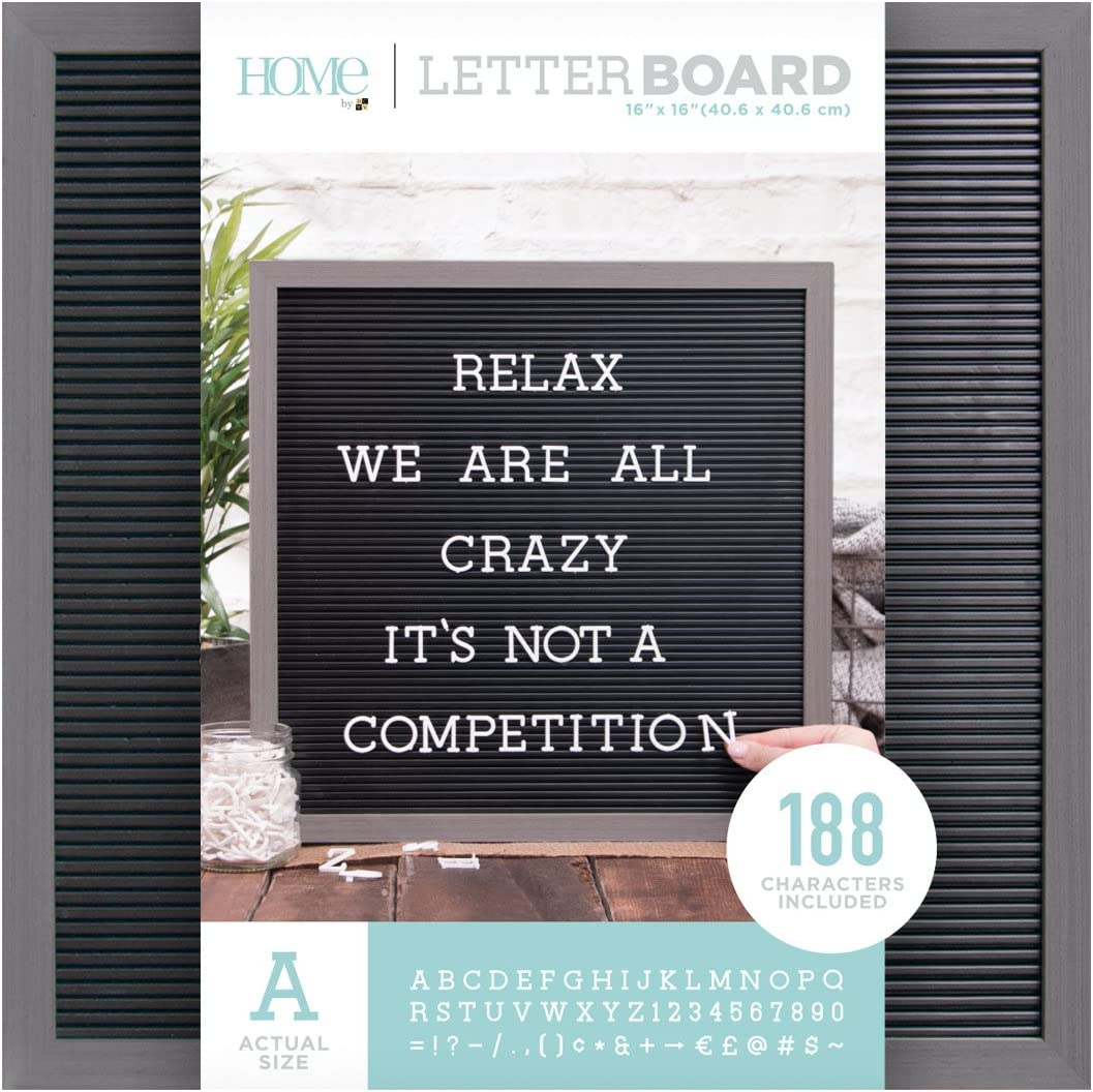 DCWVE Die Cuts with A View Board Letterboard-16 x 16-Gray and Black (189 pcs) LB-006-00013, 16 x 16