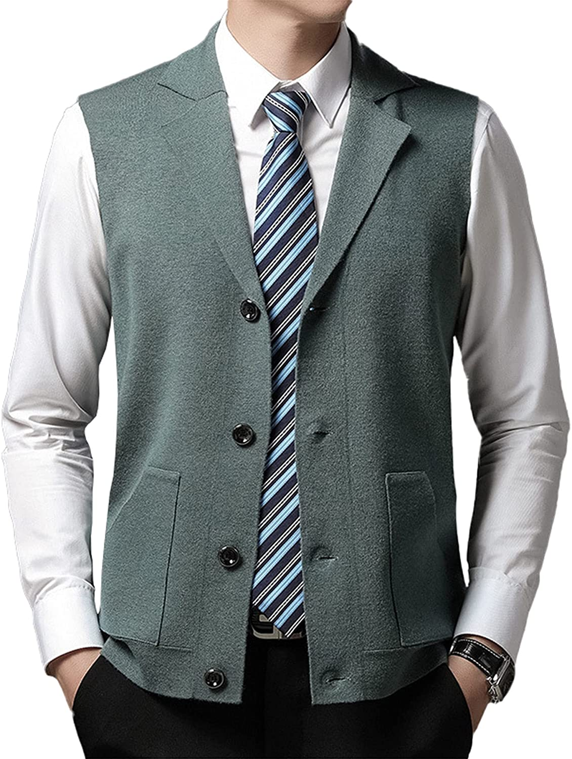 Men's Casual Vest Solid Color Suit Collar Single Breasted Young and Middle-Aged Knitted Wool Vest Waistcoat