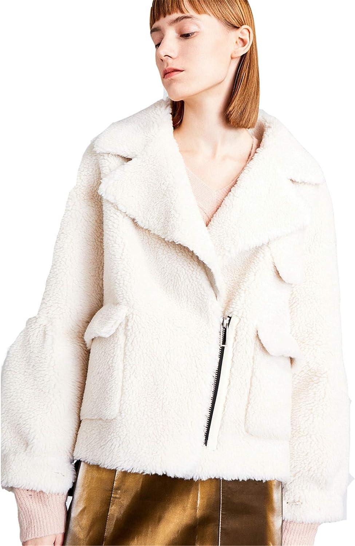 Snhpk Women Teddy Faux Fur Coat Winter Warm Fur Fleece Jacket Thick Overcoat Parka Outerwear,White,L