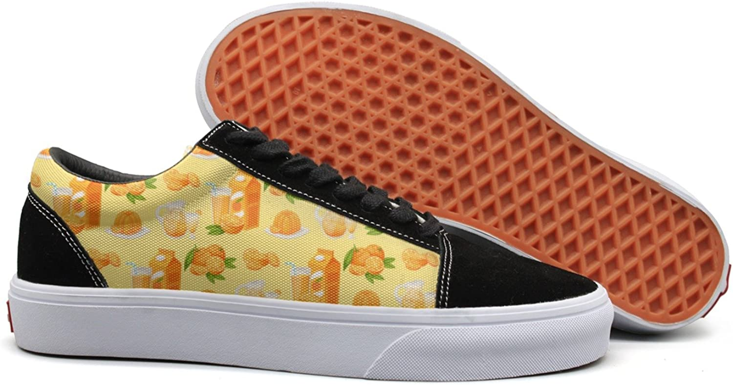 Feenfling Annoying orange Juice Womens Navy Canvas shoes Low Top Cute Tennis shoes for Women's