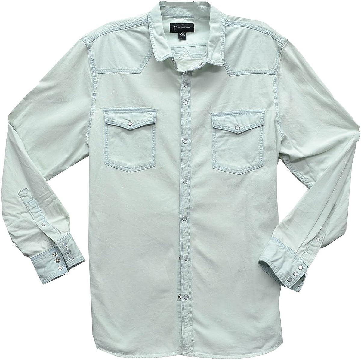 INC International Concepts Men's Snap-Front Roll-Tab Denim White Shirt XXX-Large