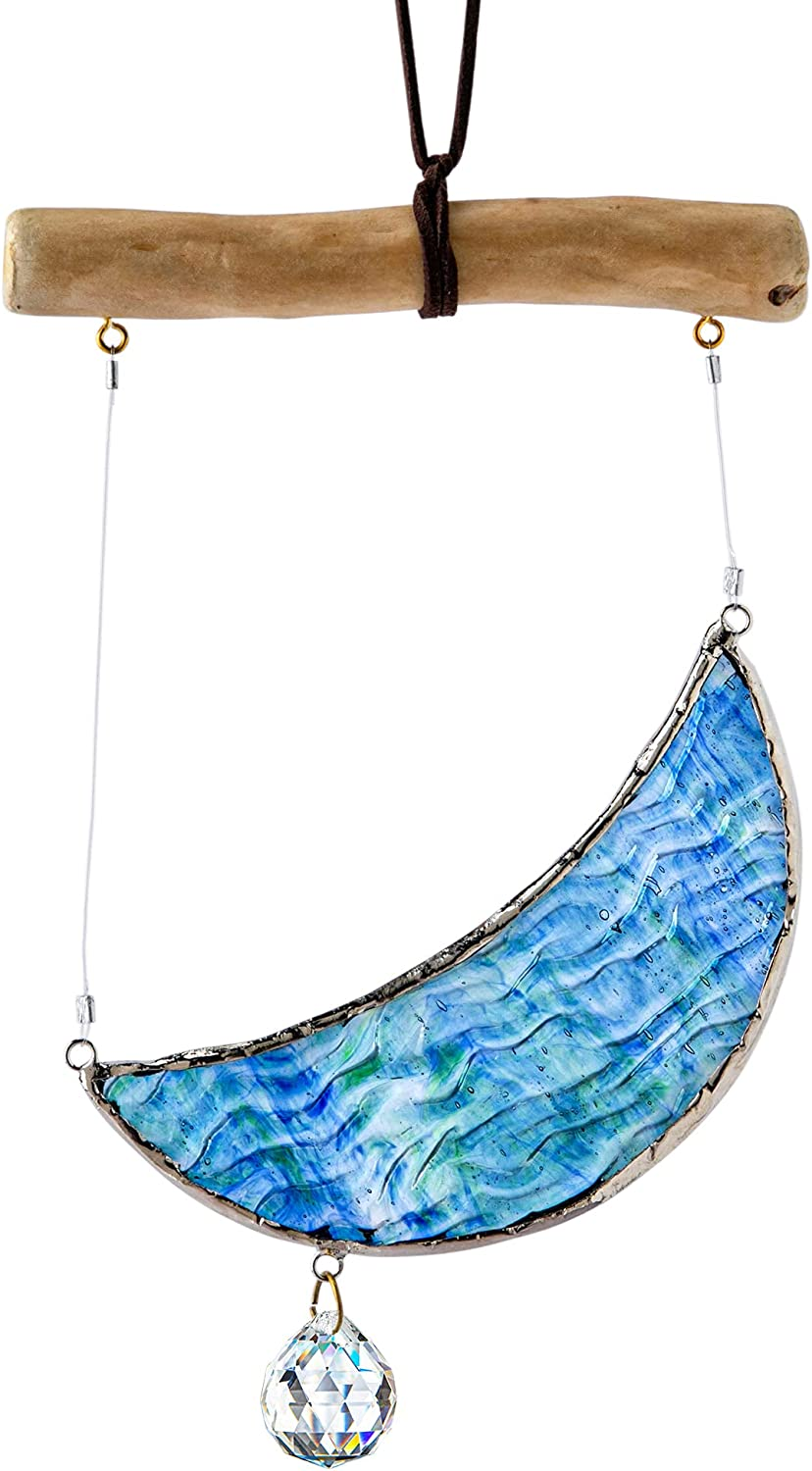 Crescent Moon Ornament Tiffany Ranking New item TOP5 Style Stained Glass Window Hangin