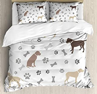 LEO BON Dog Lover Duvet Cover Set Full Size, Paw Print Bones and Dog Silhouettes American Foxhound Breed Playful Pattern Floral Duvet Cover and Pillow Shams Bed Set, Umber Beige Grey