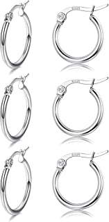 3 Pairs Sterling Silver Small Round Hoop Earring for Women Girls Lightweight Click-Top Unisex Earring Hypoallergenic
