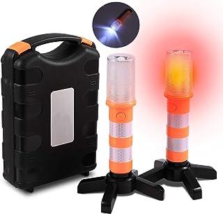 USB Wiederaufladbar Warnleuchte LED Warnblitzer mit Magnet SOS Licht Blitzleuchte Warnsignal Pannenhilfe Sicherheitsbeleuchtung Verkehrssicherheit Warnblinklicht f/ür Auto LKW Fahrrad am Stra/ßenrand