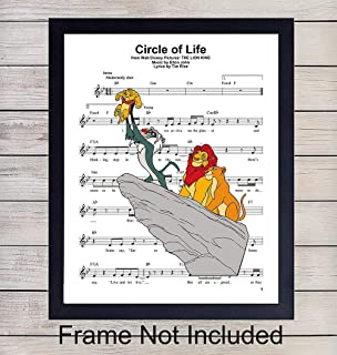 Lion King Sheet Music - Wall Art Print - Ready to Frame (8X10) Photo - Perfect Gift For Boys and Girls Rooms, Nursery, Disney World Fans - Disneyworld - Great For Home Decor