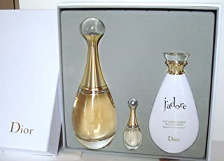 J'ADORE By Christian Dior For Women Gift Set: Eau De Parfum 100ml-3.4fl.oz Spray + Eau De Parfum 5ml - 0.17fl.oz Splash. Mini + Beautifying Body Milk 100ml-3.4fl.oz. New in Luxury Gift Box