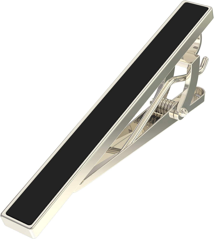 Tie Clip - Black, Premium Men's Accessories Gift - with Bonus Collar Stays