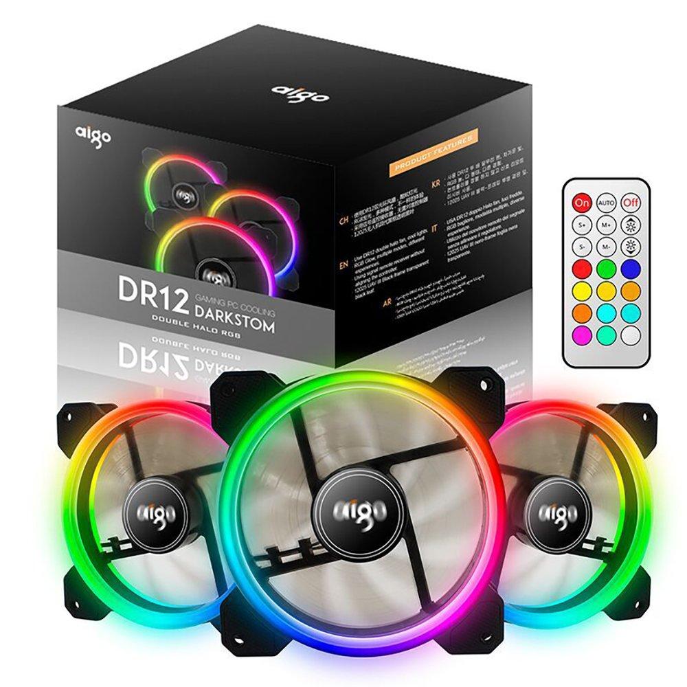 AIGO 120 mm DR12, Ventilador para Main Frame del Ordenador/Ordenador, RGB Silencioso LED de Ventilador/Ventilador de CPU con Gran Volumen de Aire y Ajustable Color (3 Pack): Amazon.es: Informática