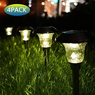 Mosolar Solar Pathway Lights Outdoor Solar Garden Llights Glass Stainless Steel Walkway Lights Landscape Lighting for Lawn/Patio/Yard/Walkway/Driveway(Bright White)