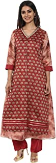 Soch Maroon and Beige Embroidered Cotton Kurti Suit