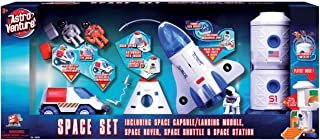 Astro Venture 4-in-1 Space Playset - Toy Space Capsule, Space Shuttle, Space Station & Space Rover with Lights and Sound &...