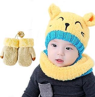 Bearbro Bambini Cappello Sciarpe Guanti Set,Unisex Infantile Berretto a Maglia Caldo Invernale Carina Piccolo Beanie Infan...