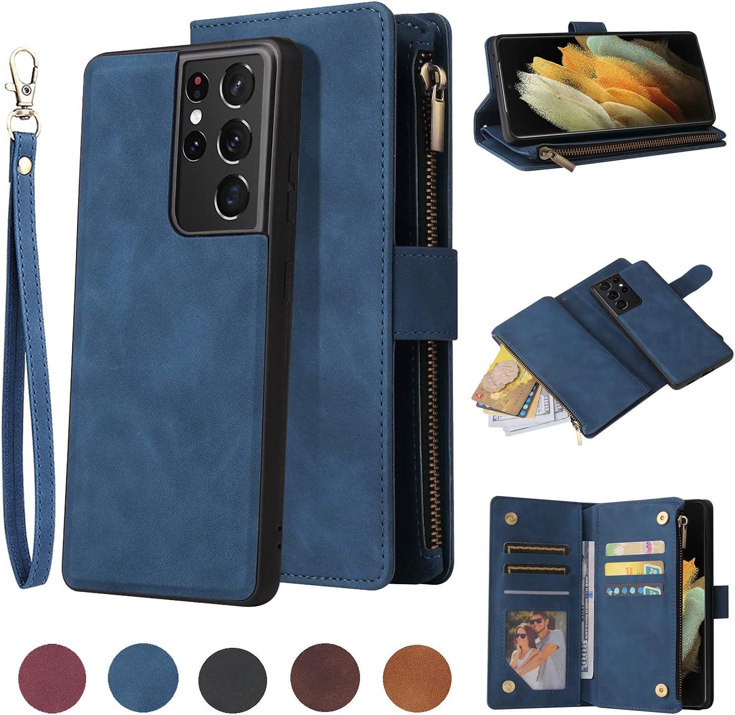 LBYZCASE Wallet Case for Galaxy S21,Samsung S21 Case,Folio Flip Premium Leather Zipper Pocket Magnetic Detachable Case Cover[Card Slots][Wrist Strap] for Samsung Galaxy S21(Blue)