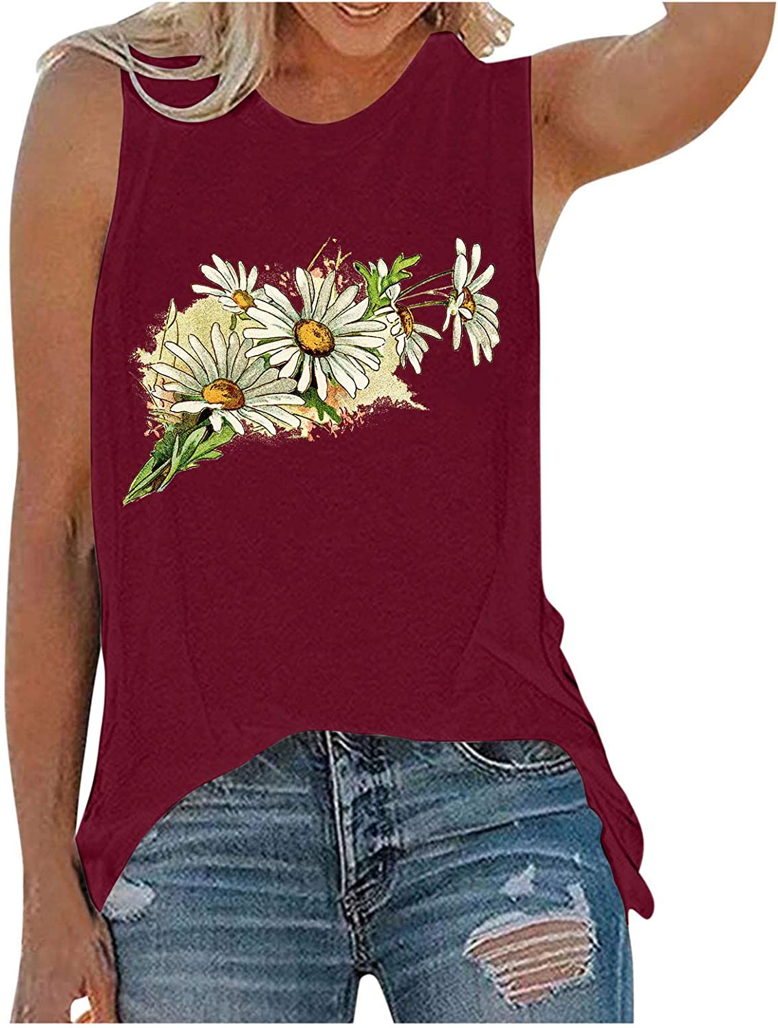 Gerichy Tank Tops for Women, Womens Summer Casual Sleeveless Loose Fit Plus Size Tank Shirts Blouses Tunics Tees Vest