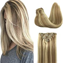 Googoo 120g 7pcs Highlighted Blonde Hair Extensions Clip in Thick Natural Human Hair Extensions Clip in Straight 24 inch